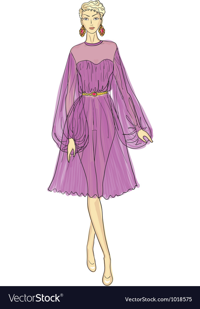 Fashion sketch of woman in chiffon dress