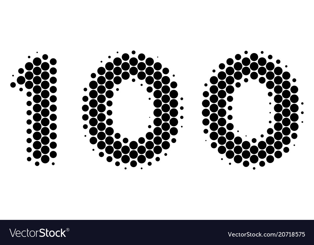 Halftone Dot 100 Text Icon Royalty Free Vector Image