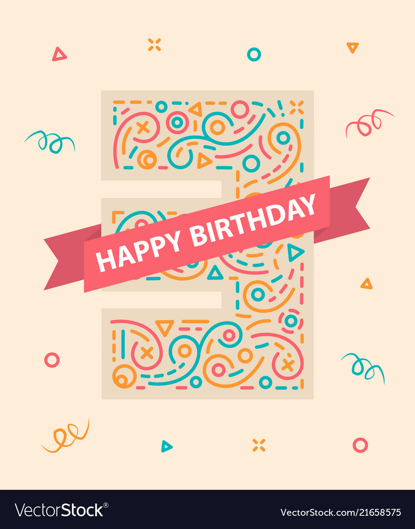 Happy birthday number 3 colorful greeting card for