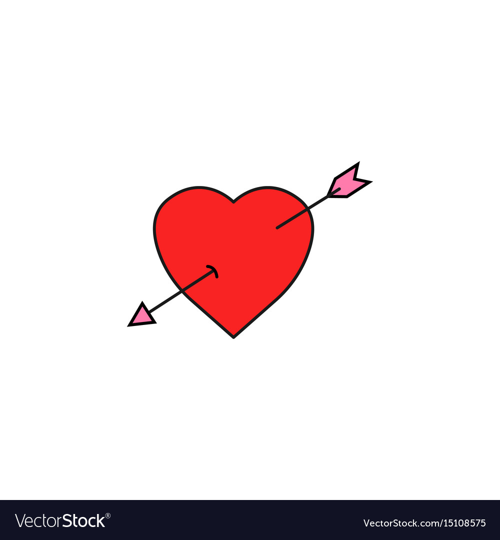 Heart with arrow solid icon love sign valentines