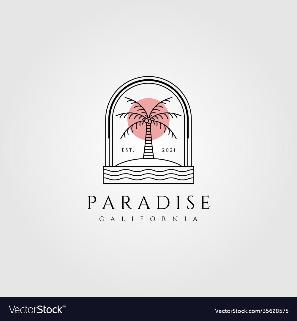 Nature palm tree logo coconut line art minimalist