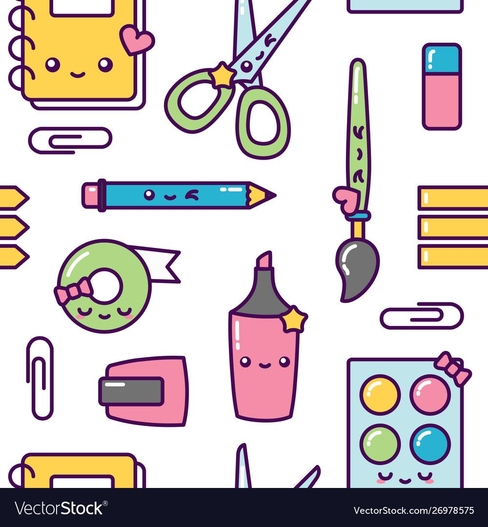 School stationery kawaii seamless pattern pastel