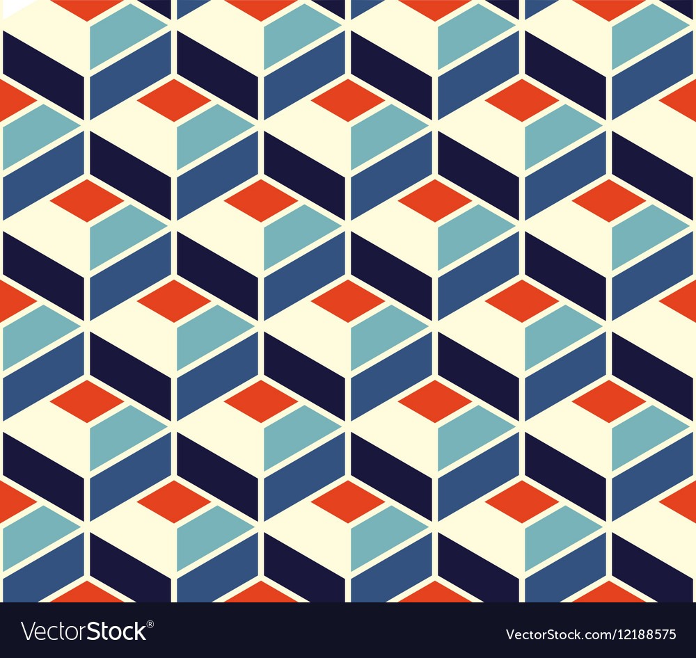 Seamless Geometric Tiling Pattern In Blue Vector Image