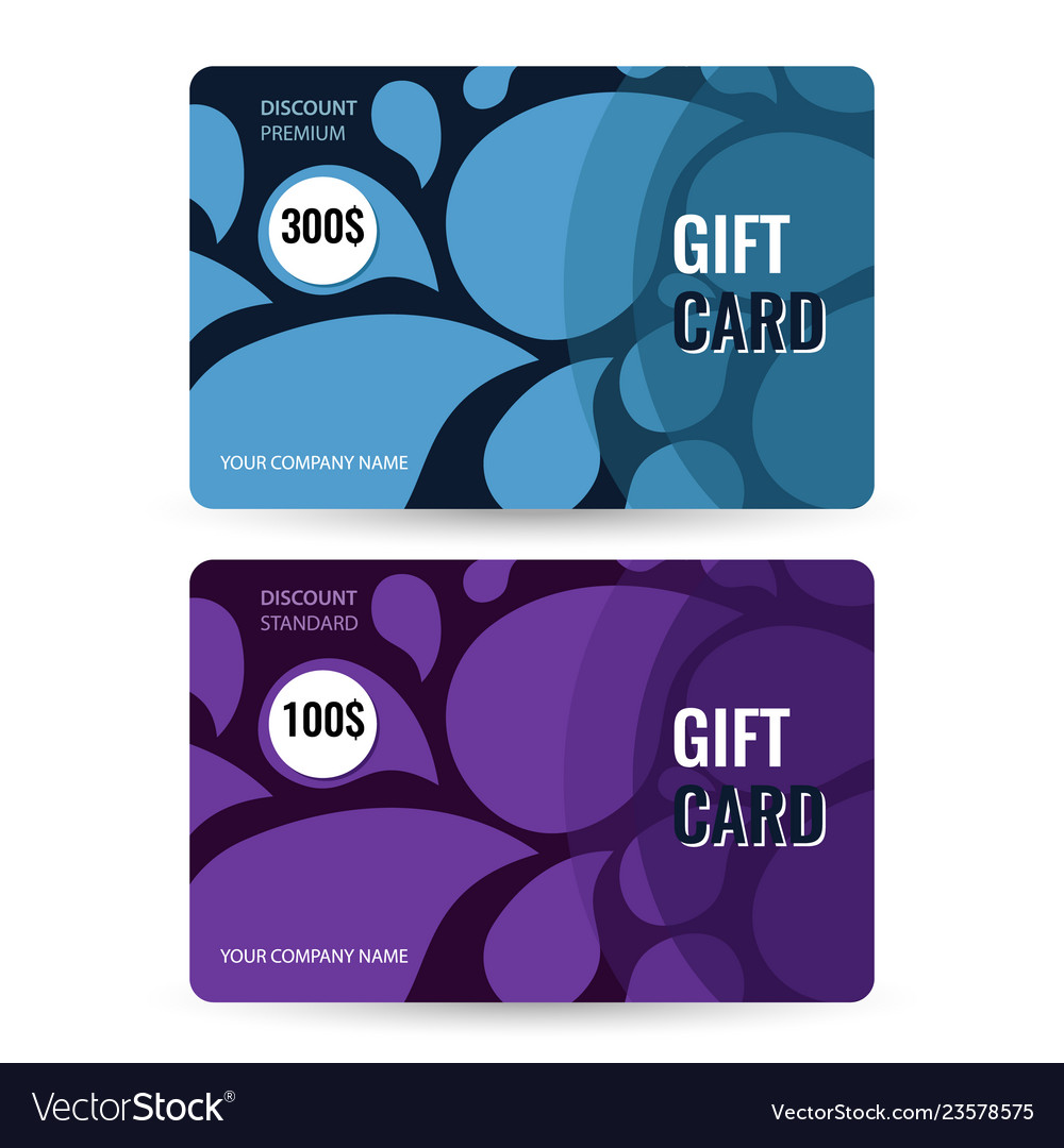 Set premium and standard gift card blue and