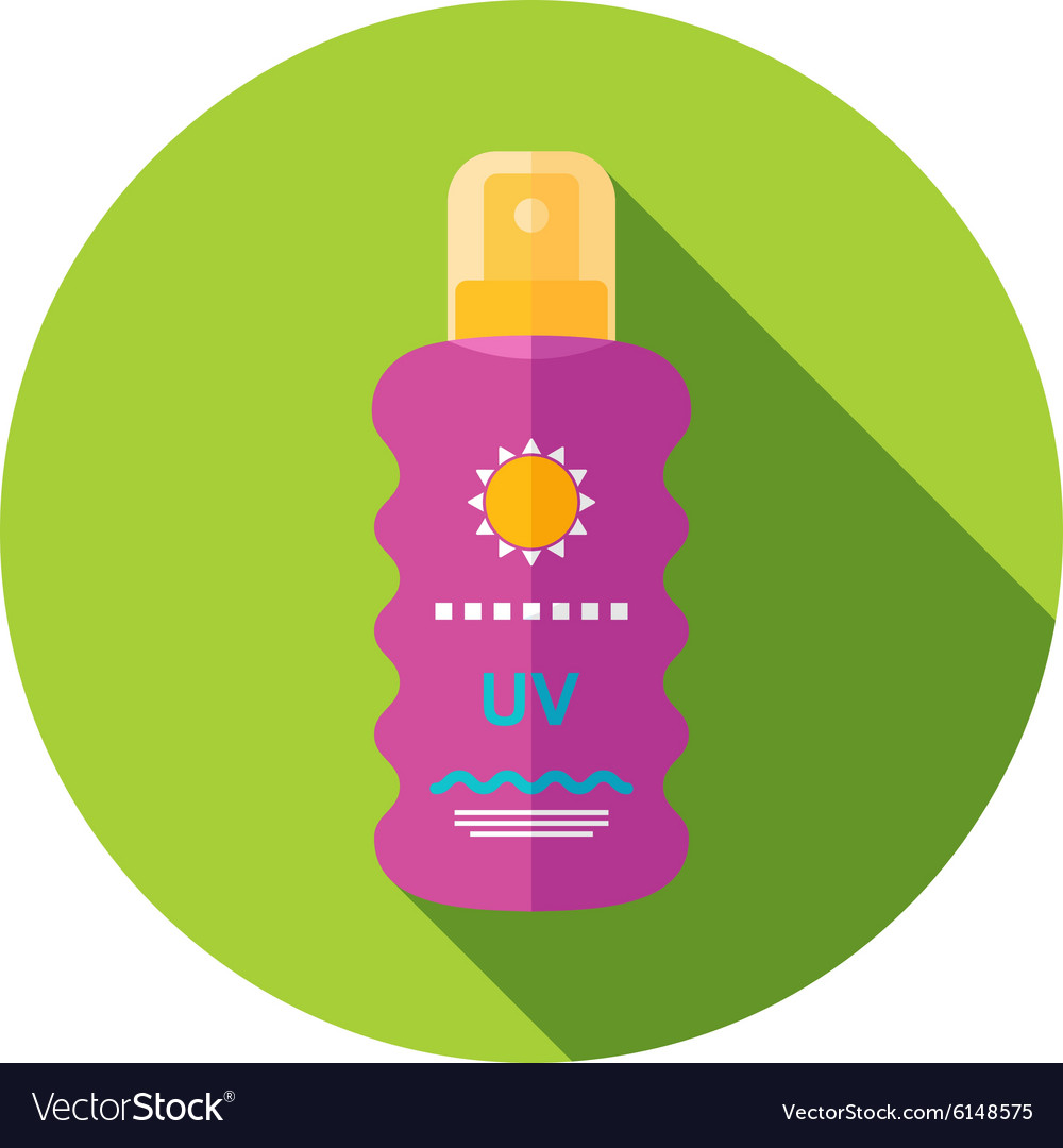Sun Cream in Spray flat icon with long shadow