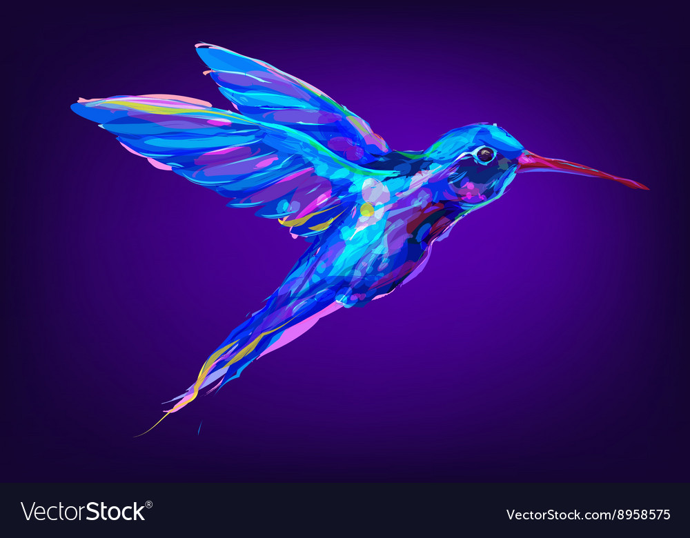 The cute red Colibri exotic bird vector image