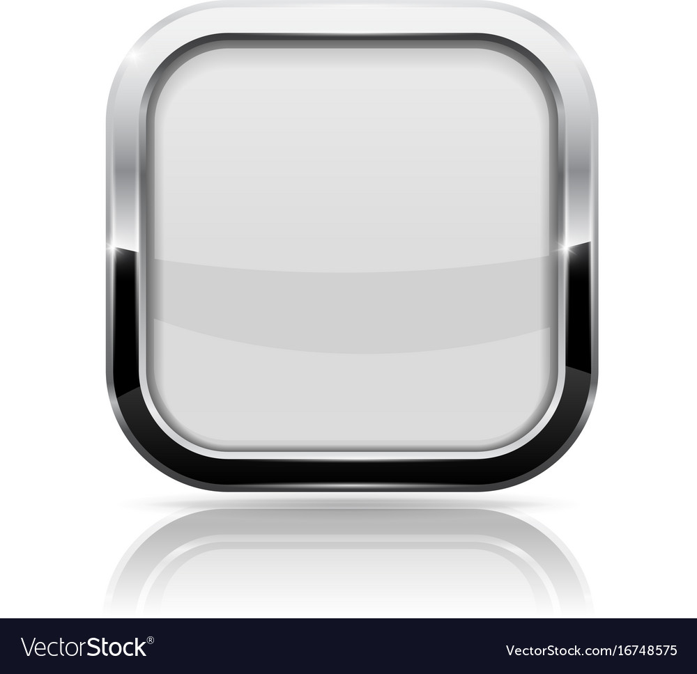 White Glass Button Square Shiny 3d Icon With Vector Image