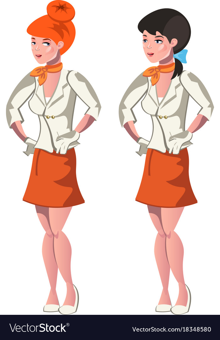 Cute cartoon stewardess in uniform