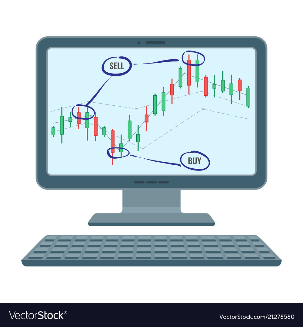 Forex trading screen of financial diagram of