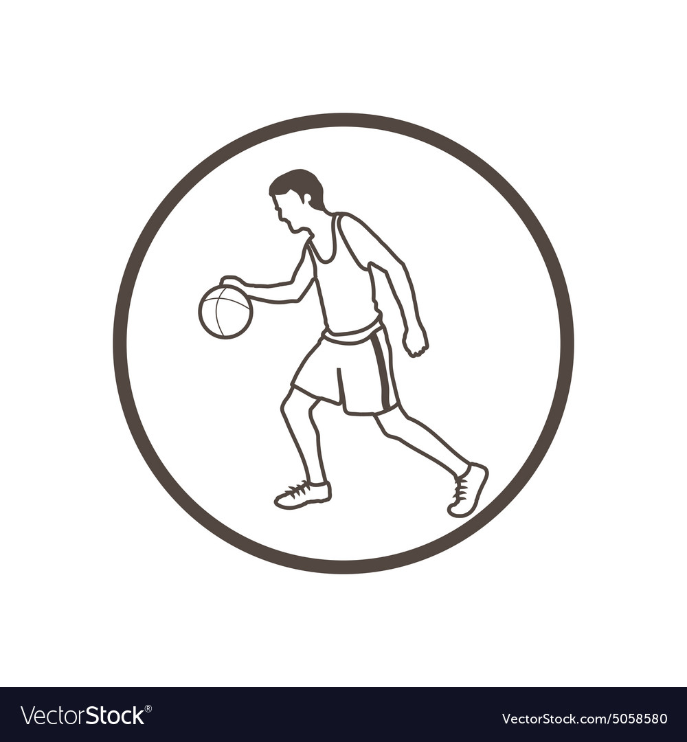 Hand drawn doodle style basketball player icon
