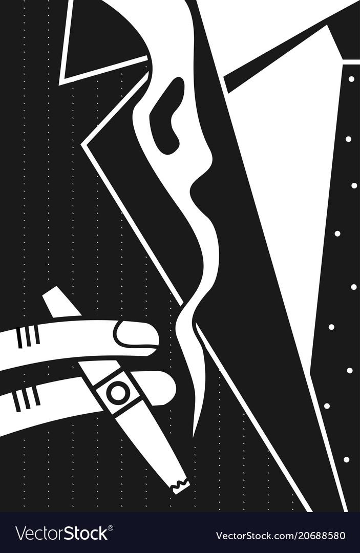 Poster a man and a cigar vector image