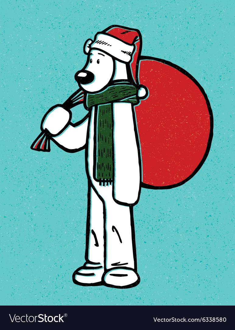 Santa hat polar bear with gift bag cartoon christm