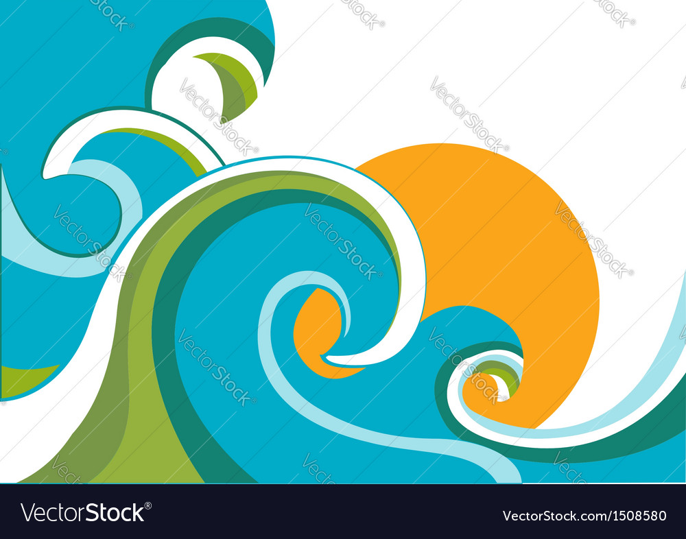 Sea with waves and sun vector image