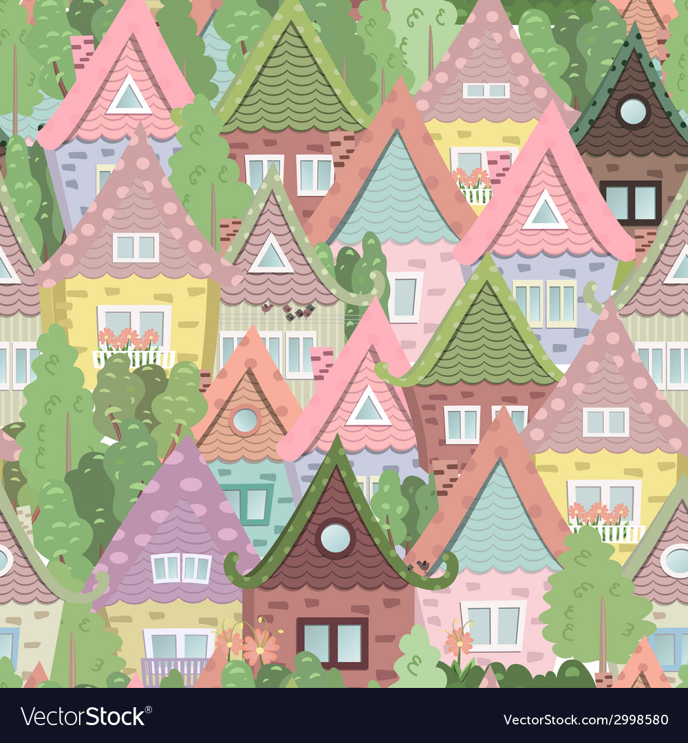 seamless texture with cute houses royalty free vector image