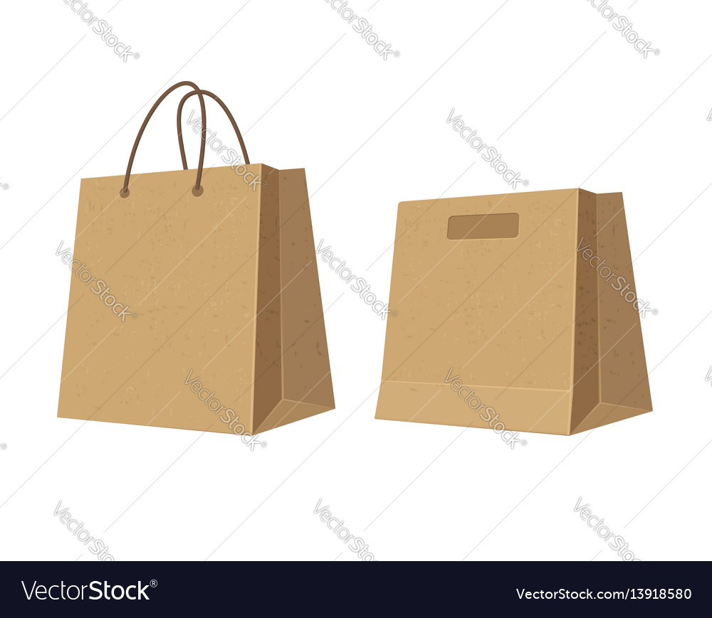 Set paper brown shopping bags flat color