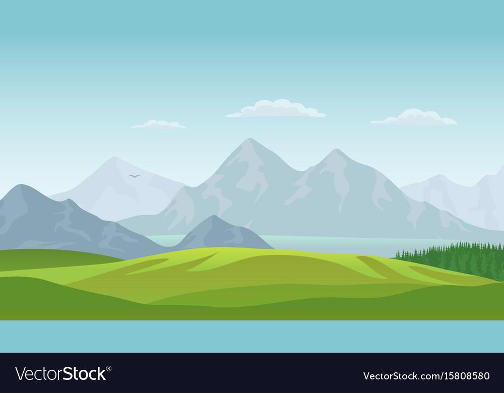 Summer landscape background vector image
