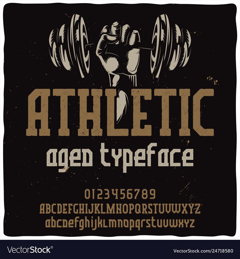 Vintage label typeface named athletic