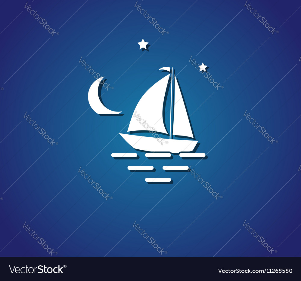 Yacht night sea