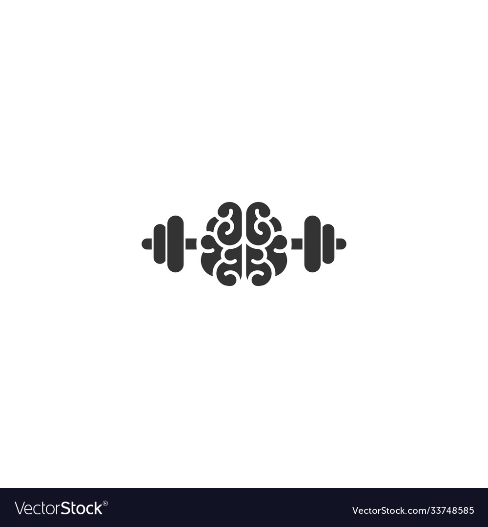 Black brain with dumbbells icon intellect