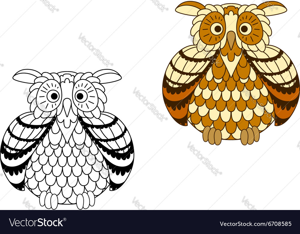 Brown and yellow cartoon owlet