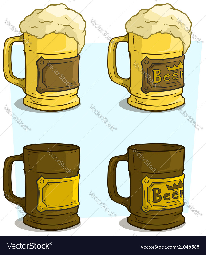 Cartoon beer mugs with label icon set