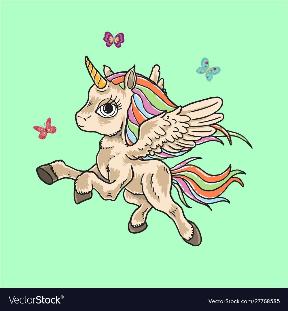 Cute unicorn doodle cartoon