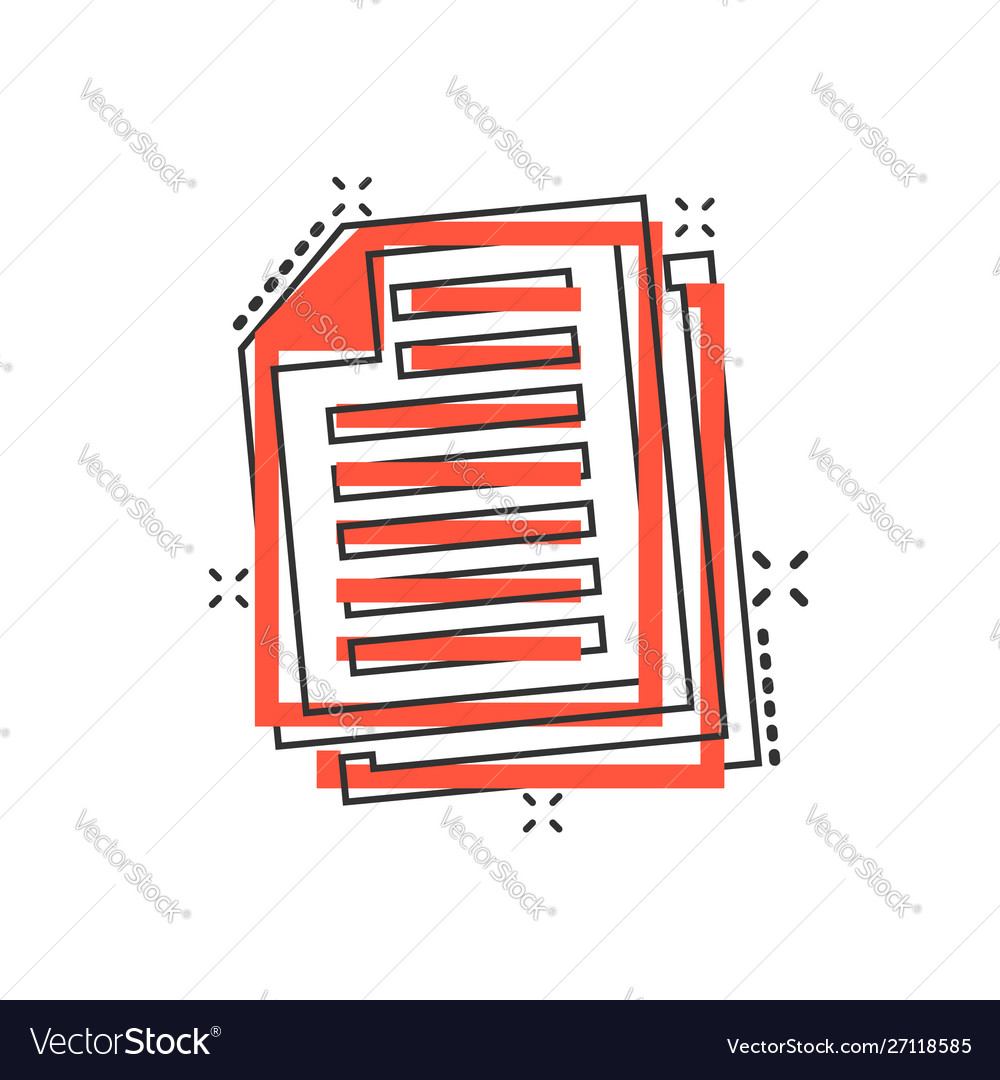 Document note icon in comic style paper sheet