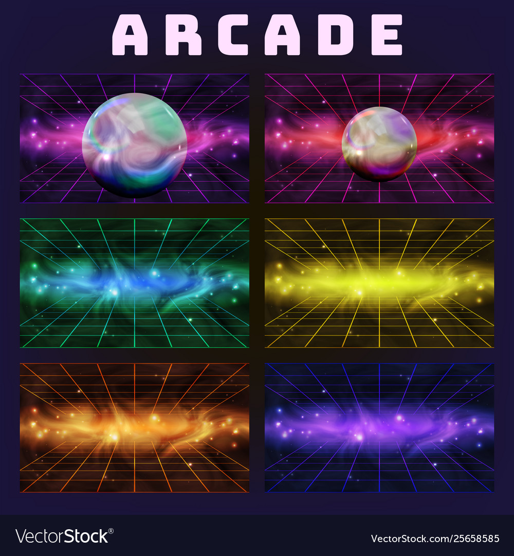 Galaxy collection on arcade background set