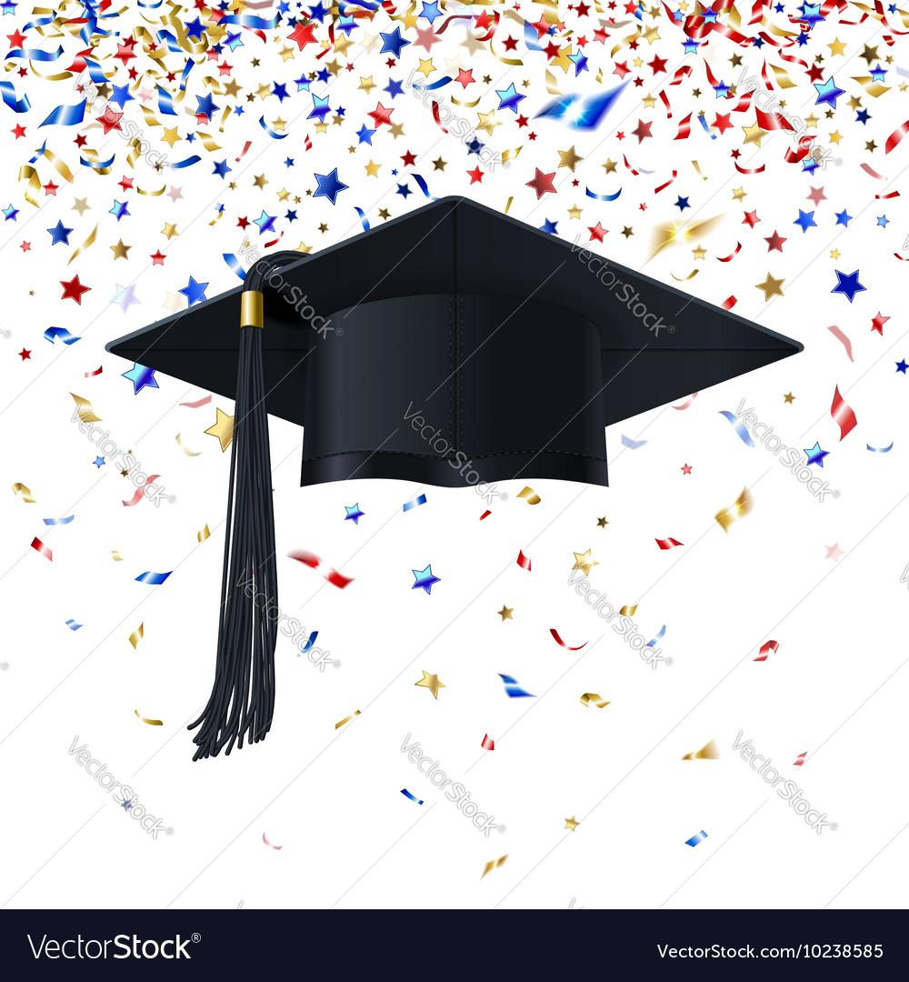Graduate Cap on a Background of Multicolor vector image