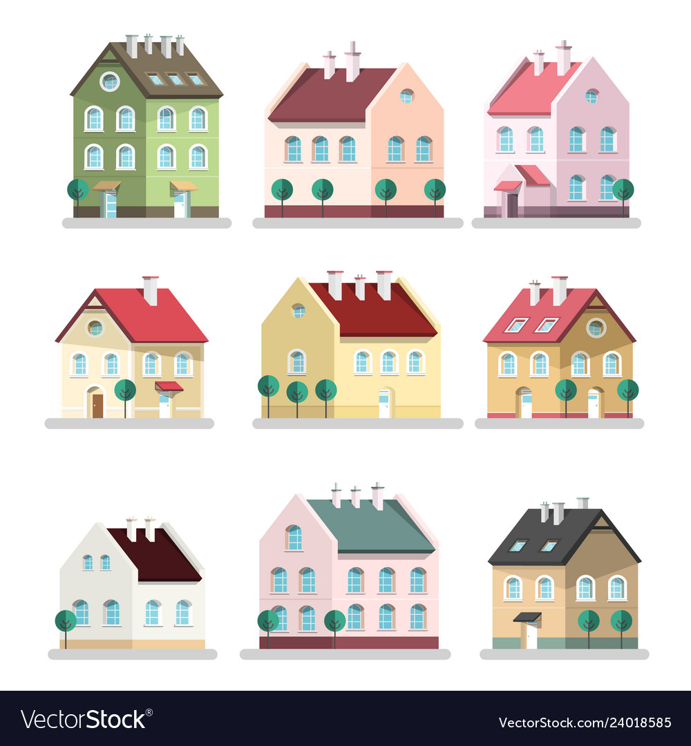 House icon houses symbols building flat design