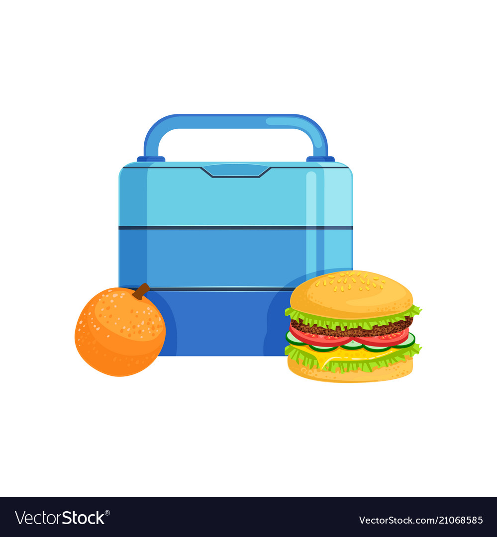 Lunch box with burger and orange food for kids