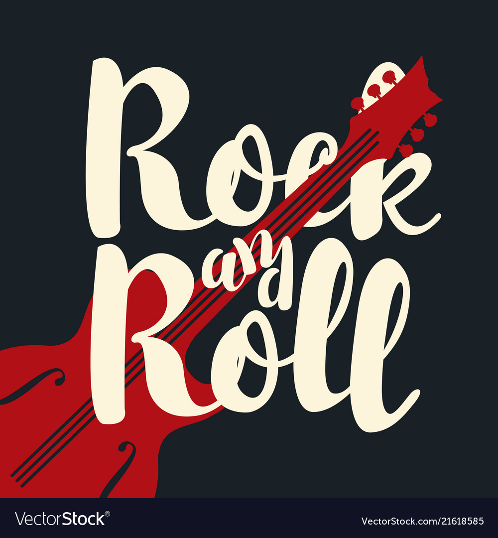 Music banner calligraphic lettering rock and roll
