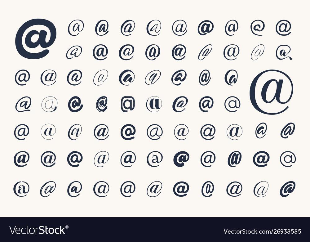 Set email symbol monkey or at vector
