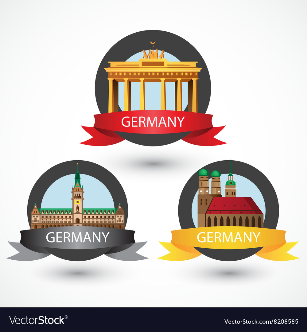 Set most famous german landmarks high detailed vector