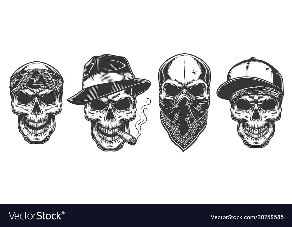 Skull in bandana on face