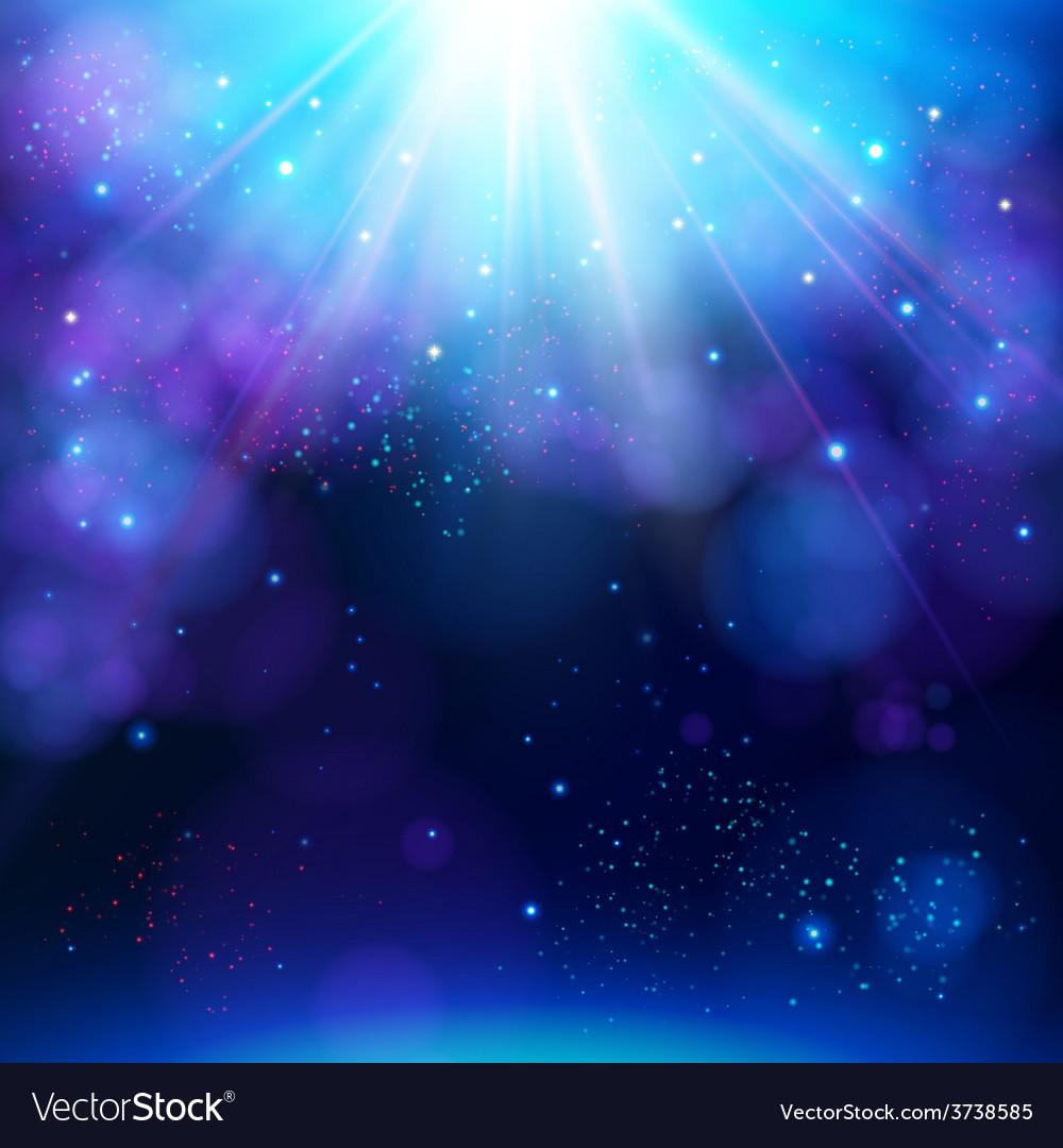 Sparkling blue festive star burst background vector image