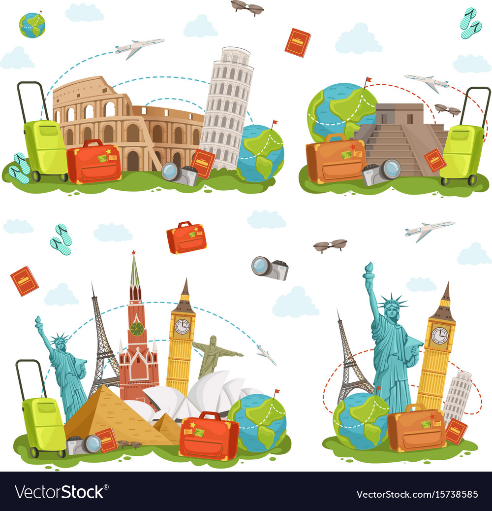Travel icons and different landmarks famous world