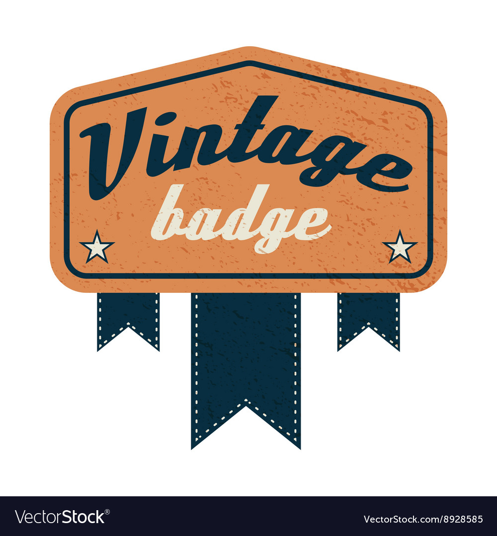 Vintage badge label on a white background