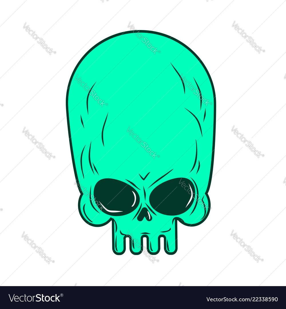 Alien skull isolated ufo head skeleton