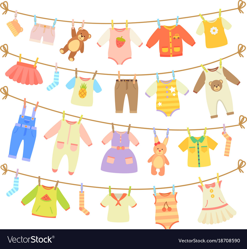 baby clothes hanging on rope isolated royalty free vector
