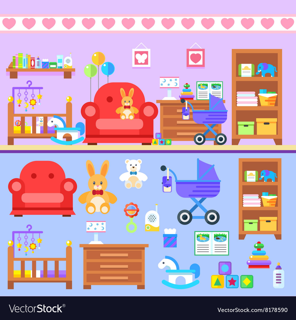 Baby firl room with furniture Nursery interior