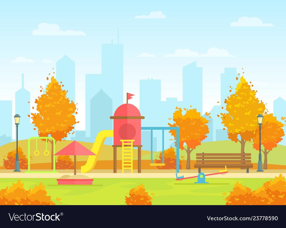 City public park with kids