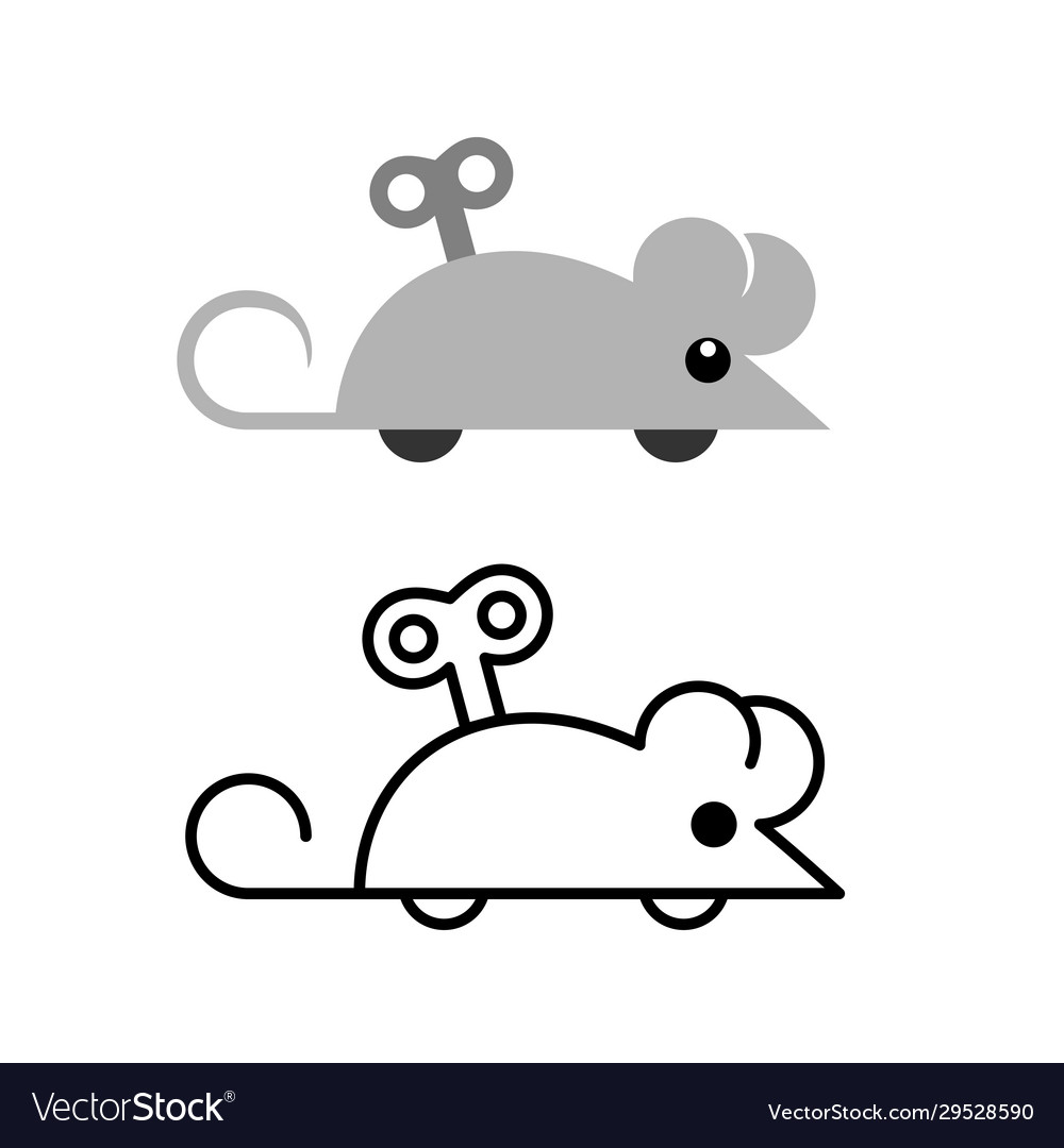 Clockwork mouse toy icon mechanical mice side