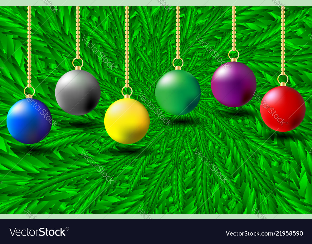 Colorful christmas balls on green needles