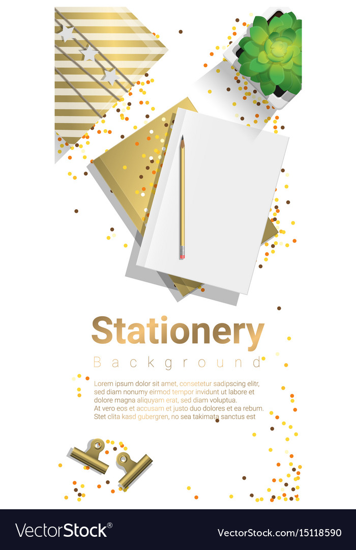 Creative scene with stationery background
