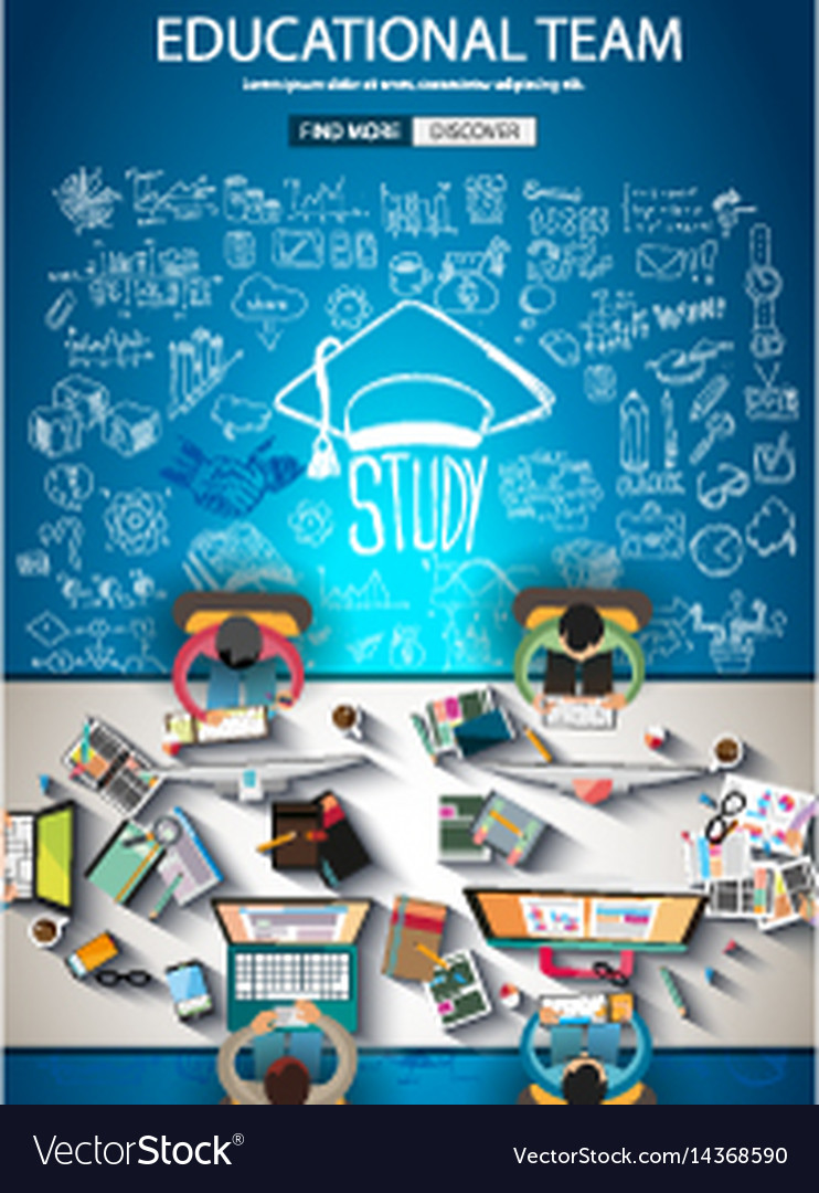 Educational infograph brochure template with hand