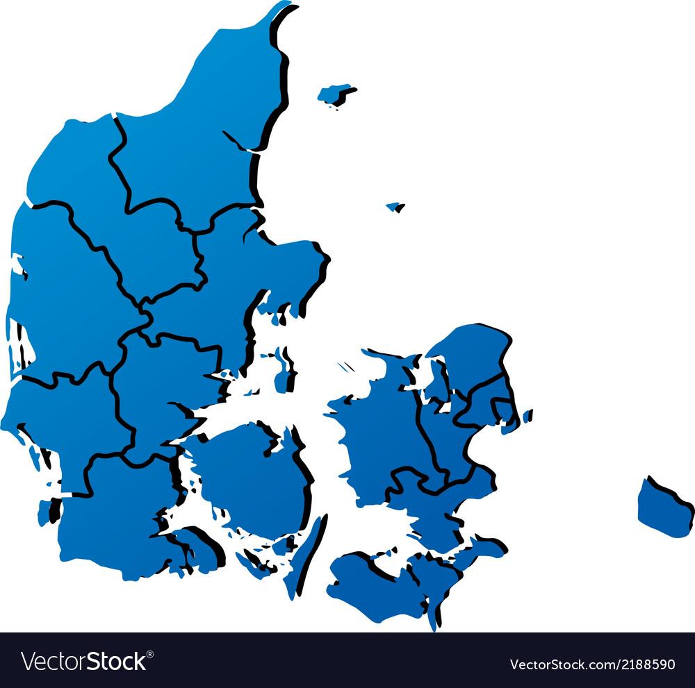 High detailed map - Denmark