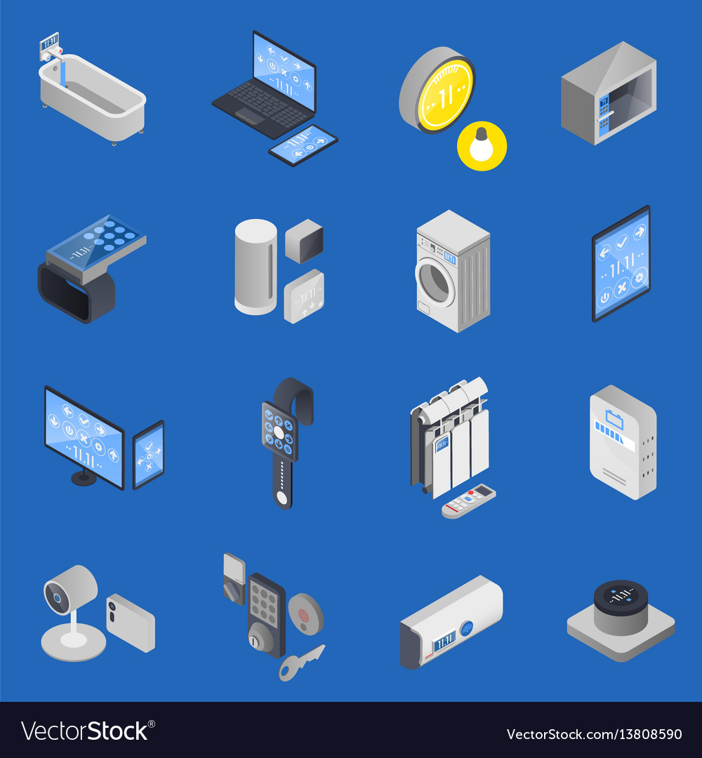 Iot internet of things isometric icon set