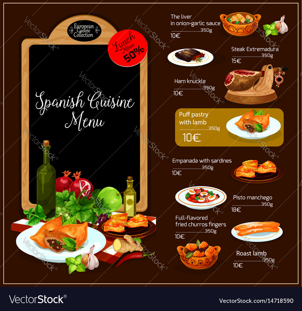 Menu of spanish cuisine restaurant