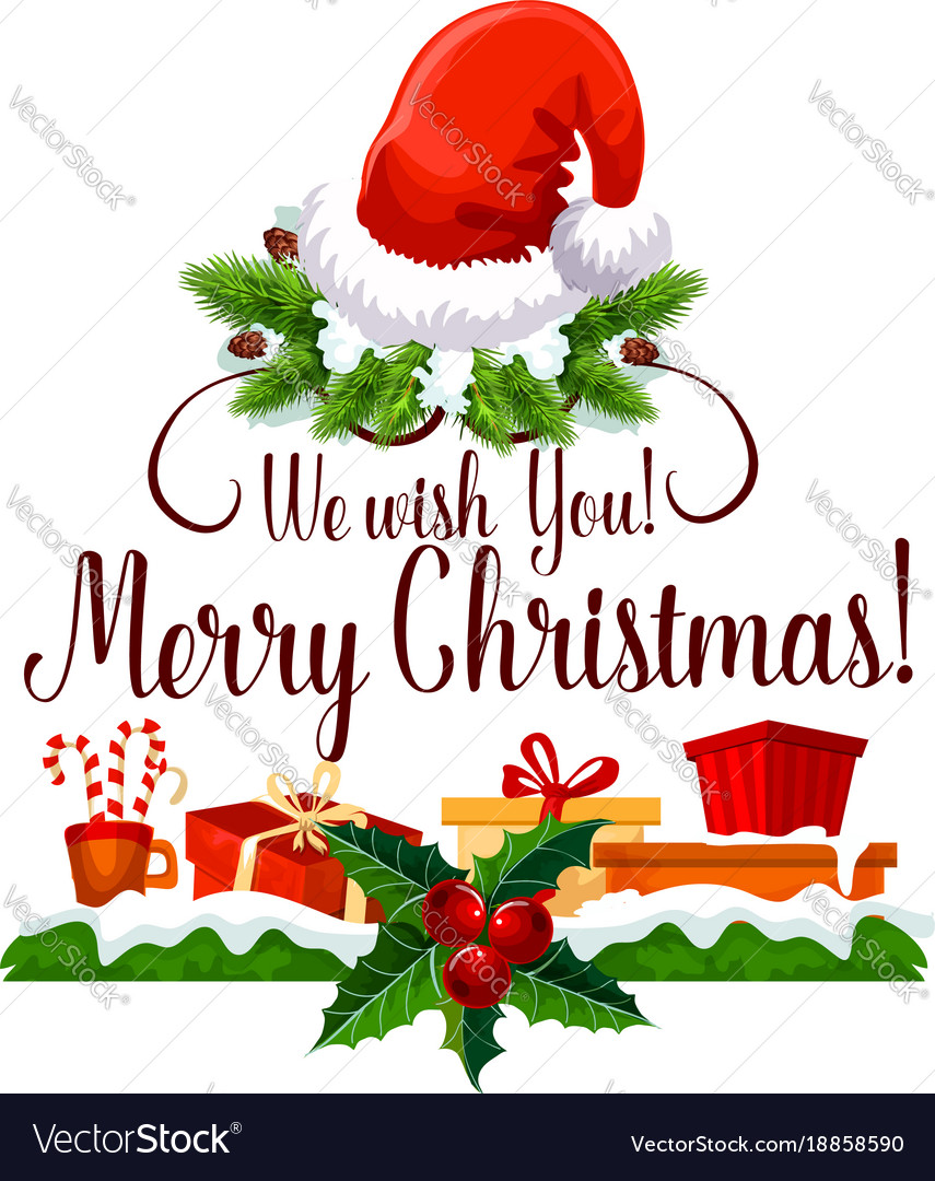 Merry Christmas Happy Holiday Design Royalty Free Vector